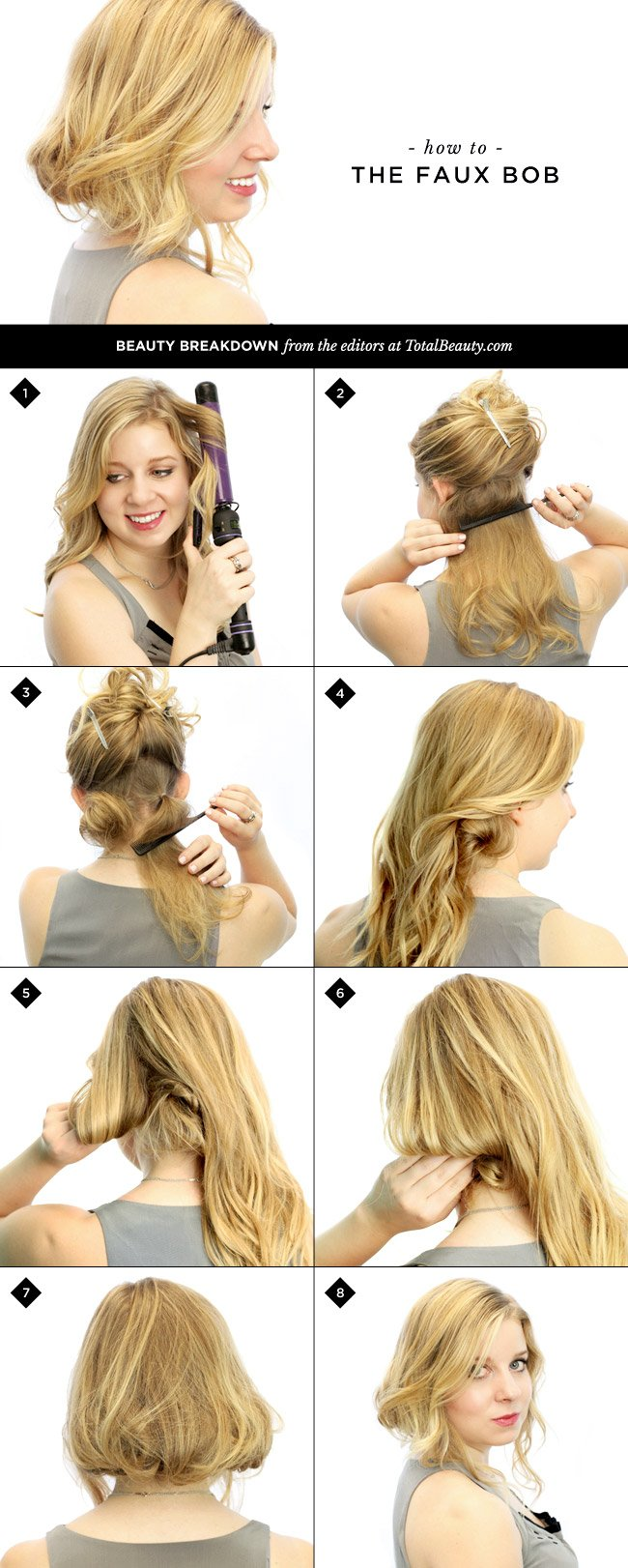 Hairstyles For Short Hair Diy : How to Do a Faux Bob in 8 Easy Steps