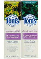 Tom's of Maine Natural Clean & Gentle Care SLS-Free Anticavity plus Whitening Fluoride Toothpaste