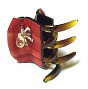 Dominique Duval Plisse Leather Covered Jaws with Jewel