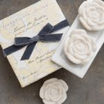 Gianna Rose Atelier Three Gardenia Soaps on Porcelain Dish