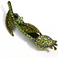 Beauty & Ah Bee inc. Green Tulip Crystal Hairclip
