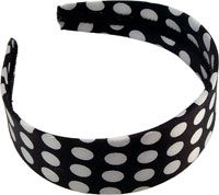 Karina Black and White Polka Dot Fabric Headband