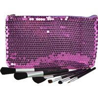 Jasmine La Belle Cosmetics 6 pc Brush Set with Sequined Pouch