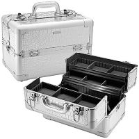 Sephora Collection Embossed Traincase -- Silver Faux Croc