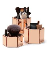 Beautify Rose Gold Hexagon Storage Pots